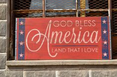 Large Distressed Wood Word God Bless America 4th of July Patriotic Holiday Sign Salvaged Architectural Vintage Feel