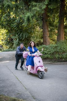 Vespa Engagement Photo. Photographer: Christopher Gendron, Seattle