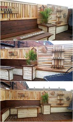 This is beautifully crafted garden lounge plan. The entire construction of different wooden products and decoration arts are made with recycled wood pallets. The wood pallets wall decor art with a pallets signboards not only seems attractive but at the same time, easy project to start work on.