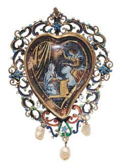 An antique gold, enamel, baroque pearl and glass pendant, Spanish, 17th century. #antique #pendant