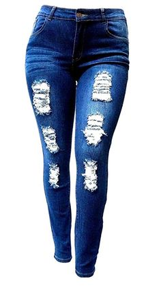 0fc5736523 SL 1826 WOMENS PLUS SIZE Stretch Distressed Ripped BLUE SKINNY DENIM JEANS  PANTS (24)