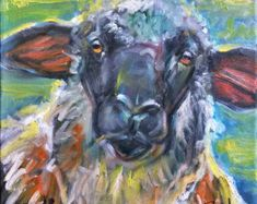 Sheep Painting - Original Oil Painting - 14x14 - by Brad Bohl - Home Decor Farm Animals Sheep Paintings, Oil Paintings, Black Faced Sheep, Hippie Painting, Sheep Art, Sheep And Lamb, Wool Art, Oil Painting Reproductions, Felt Art