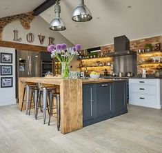 Bespoke kitchens by The Main Company. Handcrafted kitchens made from modern materials or reclaimed quality woods in their yorkshire workshops Funky Kitchen, Cosy Kitchen, Barn Kitchen, Home Decor Kitchen, Rustic Kitchen, Kitchen Interior, New Kitchen, Home Kitchens, Kitchen Design