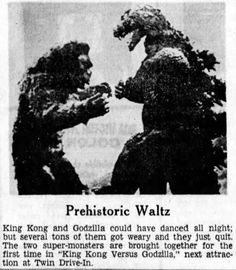 NEWSPAPER AD for Drive-in showing of KING KONG VS GODZILLA (1962)