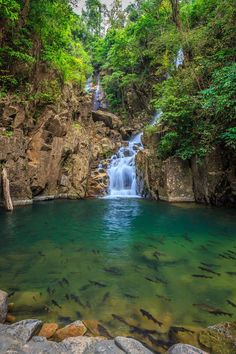 Waterfall at the Namtok Phlio National Park in Thailand