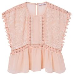 Mango Embroidered Flowy Blouse, Pink ($72) ❤ liked on Polyvore featuring tops, blouses, embroidered blouse, sleeveless lace blouse, lace blouse, pink sequin top and pink lace top