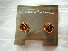 "Vendome Eternum Rose flower gold tone pierced post earrings 1/2"" small  #Vendome #Stick"