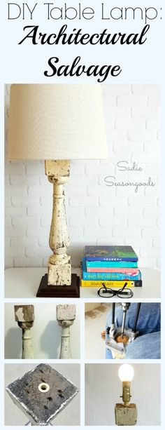 Want to create a DIY Lamp from a piece of architectural salvage, like a large spindle or porch baluster? Get the rustic farmhouse look with this tutorial that lays out the tools you'll need to make your own repurposed version. I just love that chippy white paint...and they look fantastic in our bedroom. Get the tutorial here! #SadieSeasongoods / www.sadieseasongoods.com