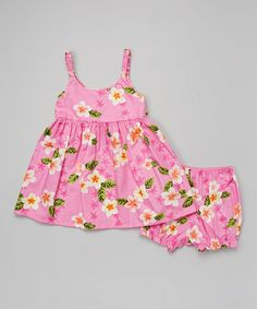 Look at this #zulilyfind! Pink Plumeria Babydoll Dress & Bloomers - Toddler #zulilyfinds