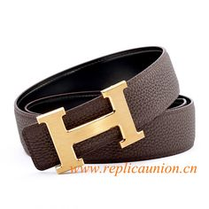 Coffee leather belt with gold h buckle