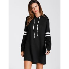 SheIn(sheinside) Varsity Striped Hoodie Dress ($16) ❤ liked on Polyvore featuring dresses, black, sport dress, sweatshirt dress, short-sleeve shift dresses, shift dress and long sleeve stripe dress