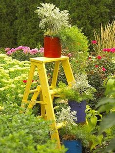 Cute painted ladder in the garden