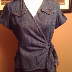 Jones New York denim wrap shirt size small. Like New, inside button closure . Size small. Jones New York Tops Button Down Shirts