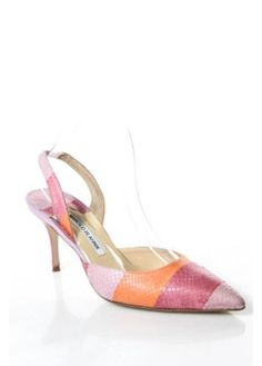 MANOLO-BLAHNIK-Pink-Orange-Striped-Pointed-Toe-Slingbacks-Sz-38-5-8-5