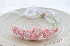 Pink White Ranunculus flower floral crown hair wreath by eteniren