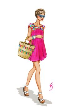 Lydia Snowden Illustration. Fashion illustration. Mexican embroidery, tassel tote bag and cat eye sunglasses.