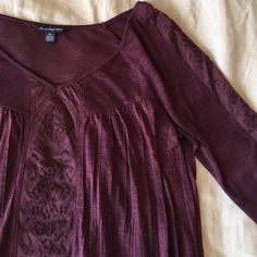 Plum Peasant Top 🍍 No low ball offers  🍍 No modeling - if it fit I would have already posted a picture  🍍 POSH ONLY   A&E plum peasant top. Quarter sleeves. Front detail is not sheer but sleeve detail is. American Eagle Outfitters Tops Blouses