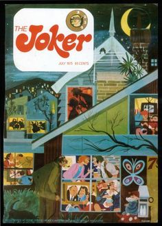 Cover of The Joker magazine, July 1975.  Nobby often drew himself in his creations, that is Nobby in front peering into a window.