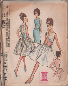 MOMSPatterns Vintage Sewing Patterns - McCall's 7239 Vintage 60's Sewing Pattern Simply CHARMING Mad Men Bateau Neck Sheath Dress or Attached Petticoat Skirt Belle of the Ball Party Gown, Obi Sash Belt with Back Bow