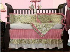 Pink and green damask print baby girl crib bedding set for an elegant feminine nursery