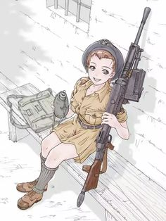 Safebooru is a anime and manga picture search engine, images are being updated hourly. Manga Anime, Military Drawings, Anime Military, Anime Weapons, Fantasy Character Design, Panzer, Instagram, Twin Braids, Army Girls