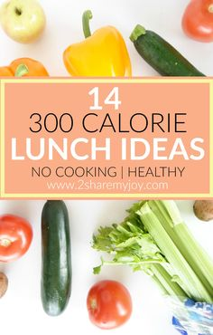 14 Fitness 300 calorie lunch ideas without cooking. These quick lunch meals are healthy and easy to prepare. Are you tired of preparing complicated lunch meals? When people try to lose weight, they often feel like they have to prepare complicated healthy recipes. On top of spending more time preparing all these meals they also spend more money on fancy ingredients.