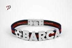 FC Barcelona Fan Leather Bracelet Barca FC Messi by PearlTwinkle