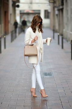 53 Gorgeous Casual Work Outfits With White Jeans - Work Outfits Women Nude Outfits, Heels Outfits, Casual Work Outfits, Winter Outfits For Work, Work Casual, Fashion Outfits, Womens Fashion, White Outfits For Women, Fashion Clothes