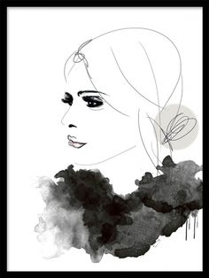 Illustration i gråtoner med kvinna i profil.