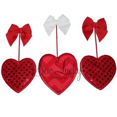 Hearts on three Strings Applique Design - This is an embroidery design and you will need an embroidery machine and a way to transfer the