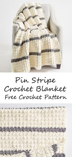 Pin Stripe Crochet Blanket Welcome this versatile project that lets you effortlessly create a different looking afghan each ti Bernat Blanket Patterns, Crochet Throw Pattern, Striped Crochet Blanket, Afghan Crochet Patterns, Crochet Crafts, Crochet Yarn, Crochet Stitches, Free Crochet, Crochet Projects