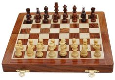 """Rosewood Chess Set - Classic 10"""" Inch Ultimate Wood Magnetic Travel Staunton Chess Game with Folding Storage Board"""