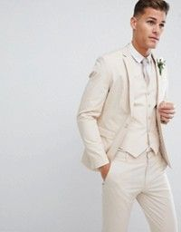 Browse online for the newest ASOS DESIGN wedding skinny suit jacket in stretch cotton in stone styles. Shop easier with ASOS' multiple payments and return options (Ts&Cs apply). Cheap Suits For Men, Linen Suits For Men, Beige Suits, Groom And Groomsmen Suits, Groom Attire, Fitted Suit, Tailored Suits, Mens Fashion Suits, Mens Suits