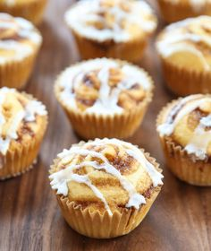 These fluffy muffins are filled with cinnamon swirls and topped with a vanilla icing. They look just like cinnamon rolls, but in a muffin form. I have to confess, I'm pretty pleased with how these Muffin Recipes, Breakfast Recipes, Dessert Recipes, Desserts, Breakfast Dishes, Banana Recipes, Cinnamon Roll Muffins, Cinnamon Rolls, Cinnamon Swirls