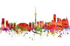 Colorful Digital abstract drawing of Toronto Ontario skyline. Toronto Skyline, Canvas Prints, Framed Prints, Abstract Drawings, Wood Print, Ontario, Stationery, Iphone Cases, Greeting Cards