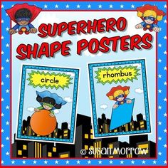 Superhero Theme Shape Posters - Superhero Theme Classroom Decor - Your preschool, Kindergarten, 1st, and 2nd grade students are going to love these super hero shape posters! This 34 page resource includes the words triangle, square, rectangle, trapezoid, rhombus, pentagon, hexagon, octagon, circle and oval. Click through for all the details! $ {preK, Kinder, first, & second grader}