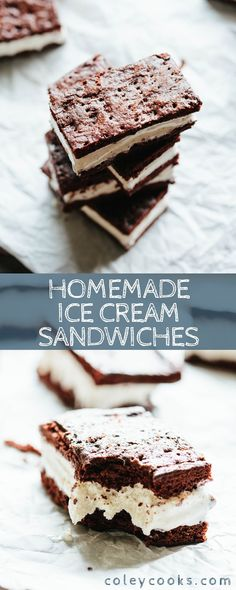 These homemade Ice Cream Sandwiches are super easy to make, gluten free optional and SO MUCH FUN! They're the best summer dessert. Lemon Desserts, Homemade Desserts, Great Desserts, Frozen Desserts, Summer Desserts, Frozen Treats, Dessert Recipes, Pastry Recipes, Pie Recipes