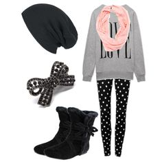 LOVE sweatshirt, polka dot leggings, pink infinity scarf, black bow boots, bow ring, black beanie