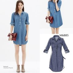 Sew the Look: Make this denim shirtdress in the length that works for you. Use McCall's M6885 shirtdress pattern and a lightweight denim.