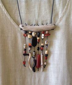Driftwood, black onyx, black coral, carnelian necklace