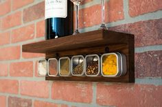 This isn't your average spice rack! Sit some extras up on the top shelf, or place your favorite #RedWine up there...for cooking purposes of course... just sayin'!  #Cooking #Gift #Spices #Kitchen #Industrial #IndustrialChic #GrainAndForge #GrainAndForgeCollection #Handmade #Handcrafted #HomeDecor #KitchenDecor #UniqueDecor #ChefLife #HomeCooks #Chef #Cook