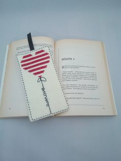 Handmade / Amore / Heart / Cross Stitch Bookmark / Book Lovers / Bookmark / Bookworm / Gift by AtelierbyMsAries on Etsy