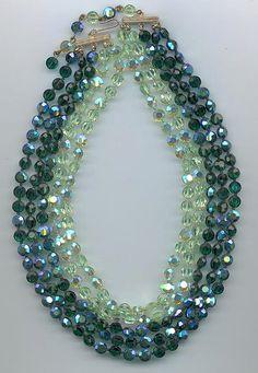 Dazzling 5-strand vintage Vogue necklace: chrysolite and emerald AB Swarovski crystals