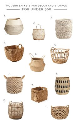 roundup of modern baskets for storage and decor Home Decor Baskets, Basket Decoration, Baskets For Storage, Baskets For Plants, Modern Baskets, Blanket Storage, Bohemian Decor, Basket Weaving, Home Crafts