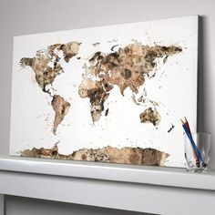 A watercolour map of the world art print in shades of sepia, beige and brown.This artwork is available as an unframed satin poster print, an unframed luxury fine art print or stunning ready-to-hang canvas.This dynamic map of the world, filled with watercolours and paint splashes, will make an excellent edition to any room with its contemporary sepia tones. Either the ready-to-hang canvas, or the satin poster or fine art print versions (suitable for framing) would make a fascinating and ...