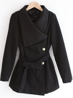 Black Lapel Long Sleeve Drawstring Buttons Coat