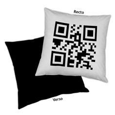 Coussin QR Code: Entrez votre texte, Decodeo le transforme en QR code et en coussin pour vous...