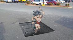 look at this! Wonder Woman chalk art by Sean Fitzpatrick Street art Fresh Cut Dress - Cham. 3d Street Art, Amazing Street Art, Street Art Graffiti, Street Artists, Amazing Art, Chalk Artist, 3d Chalk Art, 3d Sidewalk Art, Manga