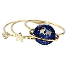 [Visit to Buy] Timlee R154  Free shipping Cute Blue Star Planet Saturn 13MM Joint Finger Rings Set ,Fashion Jewelry Wholesale HY #Advertisement