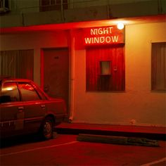 """""""Night Window"""" glowing red neon sign on a motel in Los Angeles, California, Photo by Jeff Brouws. Orange Aesthetic, Aesthetic Colors, Aesthetic Pictures, Murs Oranges, Night Window, Neon Licht, Neon Noir, Orange Walls, Neon Lighting"""